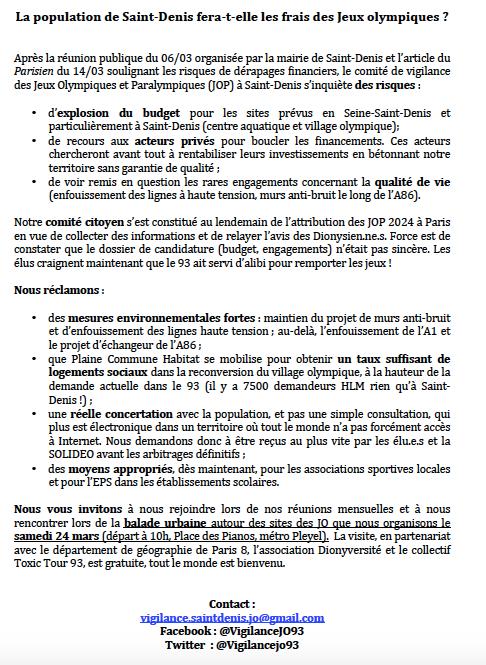 CP Comité JO 93 budget mars 2018